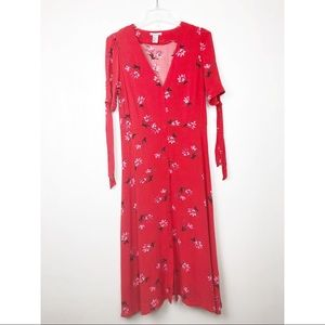 H&M Red Short Sleeved Maxi Button Floral Dress
